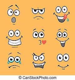 Cartoon comic faces. Various expressions vector set