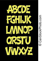 Cartoon comic graffiti alphabet