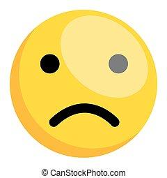 Cartoon Comic Sad Smiley Character Face Expression Vector Illustration