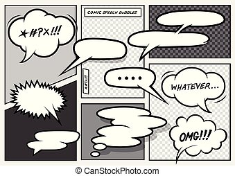Cartoon Comic Speech Bubbles - A set of various vector ...