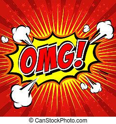 cartoon., comico, omg!, bolla discorso