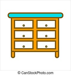 Cartoon commode with lot of drawers isolated illustration