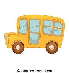 Cartoon compact yellow school bus with big windows - Cartoon...