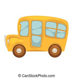 Cartoon compact yellow school bus with big windows
