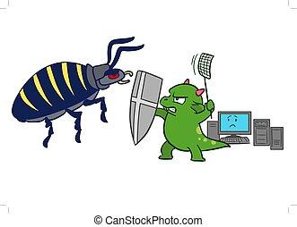 Cartoon computer bug virus attack
