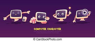 cartoon, computer, karakter, pc., set., desktop, cute