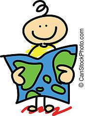 cartoon concept boy explorer