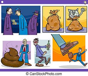 cartoon concepts and ideas set - Illustration Set of...