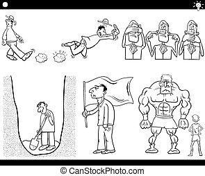 cartoon concepts and sayings set