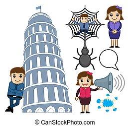 Cartoon Concepts Characters Vectors