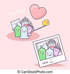 cartoon condom friends selfie, safe sex concept