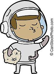cartoon confident astronaut
