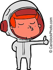 cartoon confident astronaut giving thumbs up sign