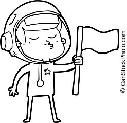 cartoon confident astronaut waving flag