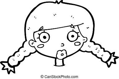 cartoon confused female face