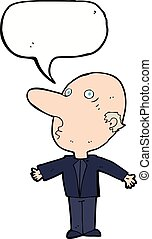 cartoon confused middle aged man with speech bubble