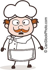 Cartoon Confused Old Chef Face Vector Illustration