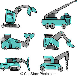 Cartoon construction vehicle set