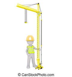 Cartoon Construction Worker Standing Under Crane