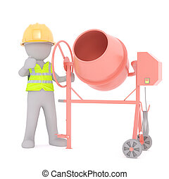 Cartoon Construction Worker with Cement Mixer