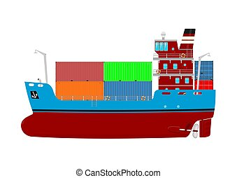 Cartoon container ship. Modern cargo ship on a white...
