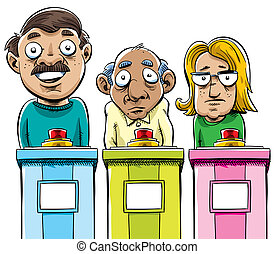 Cartoon Contestants - A group of cartoon game show...