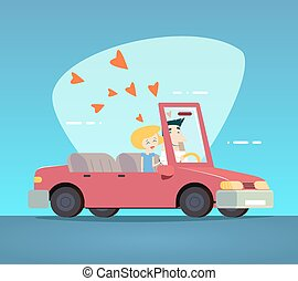 Cartoon Convertible Car Happy Male and Female Couple Love Characters Icon Modern Design Stylish Background Retro Flat Vector Illustration