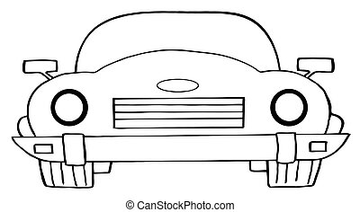 Outlined Convertible Car