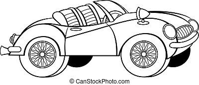 Cartoon convertible sports car.