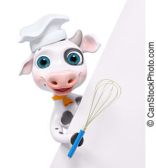 Cartoon cook cow with poster and whisk 3d rendering