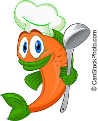 Cartoon cook fish with dishware for cooking concept isolated...