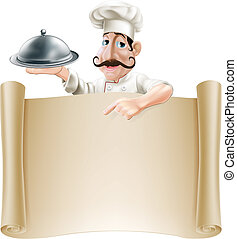 Cartoon Cook Menu Scroll - A friendly cartoon cook with a...