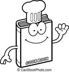 A cartoon illustration of a cookbook waving.