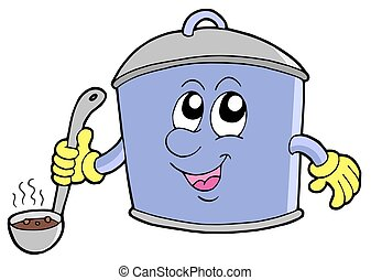 Cartoon cooker pot - isolated illustration.