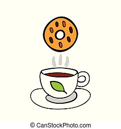 Cartoon cookie and cup of tea isolated on white background.