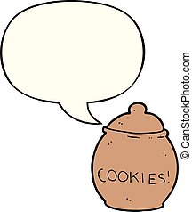 cartoon cookie jar and speech bubble