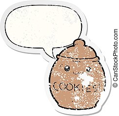 cartoon cookie jar and speech bubble distressed sticker