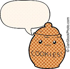 cartoon cookie jar and speech bubble in comic book style