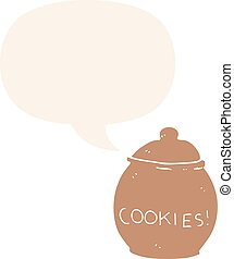 cartoon cookie jar and speech bubble in retro style