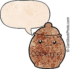 cartoon cookie jar and speech bubble in retro texture style