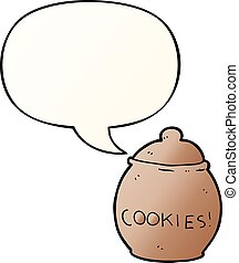 cartoon cookie jar and speech bubble in smooth gradient style