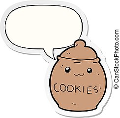 cartoon cookie jar and speech bubble sticker