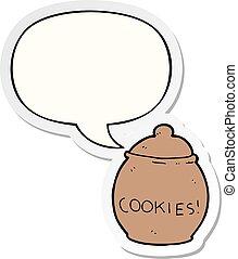 cartoon cookie jar and speech bubble sticker