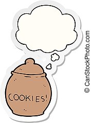 cartoon cookie jar and thought bubble as a printed sticker