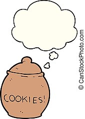 cartoon cookie jar and thought bubble