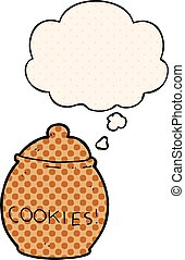 cartoon cookie jar and thought bubble in comic book style