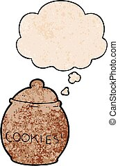 cartoon cookie jar and thought bubble in grunge texture pattern style