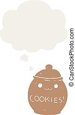 cartoon cookie jar and thought bubble in retro style