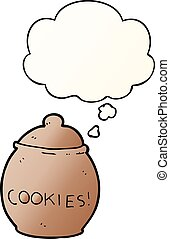 cartoon cookie jar and thought bubble in smooth gradient style