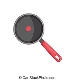 Cartoon cooking pan vector illustration.